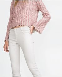Zara   White Cropped Jeans   Lyst