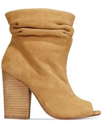 Chinese Laundry - Natural Break Up Peep-toe Suede Slouchy Booties - Lyst