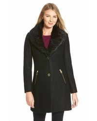 Guess Black Faux Fur Collar Single Breasted Boucle Coat