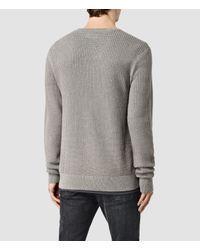 AllSaints - Gray Garr Crew Cotton Jumper for Men - Lyst