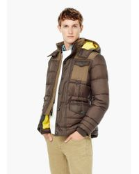 Mango - Brown Detachable Hood Quilted Coat for Men - Lyst