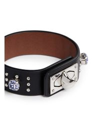 Givenchy | Black Shark Tooth Strass Stud Leather Bracelet | Lyst