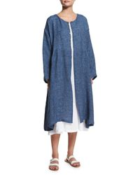 Eskandar - Blue Long-sleeve Pleated Long Coat - Lyst
