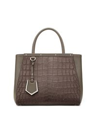 Fendi | Gray 2jours Petite Crocodile-embossed Calf Hair & Leather Shopper | Lyst