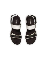TOMS - Black And White Leather Women's Tierra Sandal - Lyst