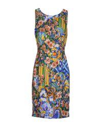 Dolce & Gabbana - Blue Printed Peplum Hem Column Dress - Lyst