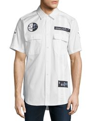 Alexander Wang White Button-down Short-sleeve Shirt With Patches for men