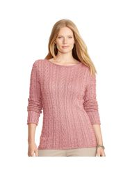 Ralph Lauren | Pink Cable-knit Cotton Sweater | Lyst