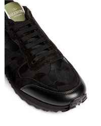 Valentino Black Camouflage Print Suede Leather Sneakers