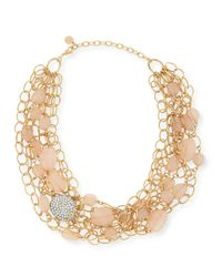 R.j. Graziano - Metallic Layered Chain & Bead Bib Necklace - Lyst