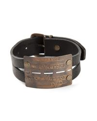 DSquared² | Black Etched Logo Cuff for Men | Lyst