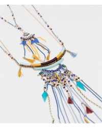 Zara | Metallic Long Stone And Chain Necklace | Lyst