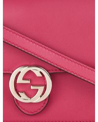 Gucci Pink Icon Leather Strap Wallet