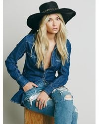Free People | Black Talitha Straw Hat | Lyst
