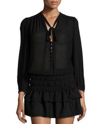 Étoile Isabel Marant - Black Kiandra Long-sleeve Tie-neck Blouse - Lyst