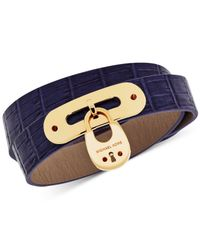 Michael Kors | Blue Leather Padlock Wrap Bracelet | Lyst