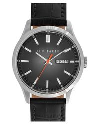 Ted Baker | Black Croc-embossed Leather Strap Watch for Men | Lyst