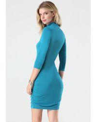 Bebe Blue Logo Mock Neck Ruched Dress