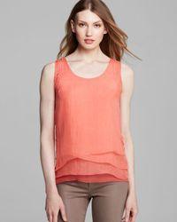 Elie Tahari Orange Kinley Silk Layer Top