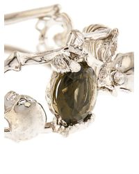 Alexander McQueen Metallic Double-Skeleton Crystal Bracelet