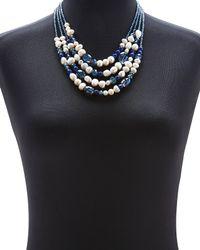 Gardenia | Blue  White Embellished Necklace | Lyst