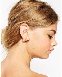 ASOS | Metallic Oversized Faux Pearl Double Earrings | Lyst