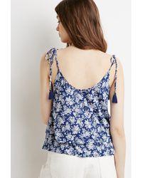 Forever 21 - Blue Tassled Floral Flounce Cami - Lyst