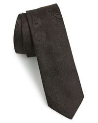 HUGO | Black Paisley Woven Silk Tie for Men | Lyst
