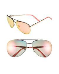 Kensie Pink 'paris' 64mm Aviator Sunglasses - Shiny Rose Gold