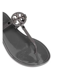 Tory Burch Gray 'Mini Miller' Jelly Thong Sandals