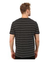 Lacoste - Black Short Sleeve Fine Stripe V-neck Tee Shirt for Men - Lyst
