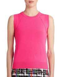 MILLY - Pink Seamed Knit Shell - Lyst