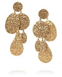 Oscar de la Renta | Metallic Hammered 24karat Gold Plated Clip Earrings | Lyst