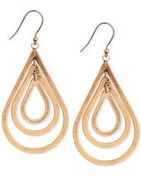 Lucky Brand | Metallic Gold-tone Orbital Teardrop Earrings | Lyst