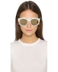 Le Specs | Metallic Neo Noir Sunglasses - White Marble/gold | Lyst