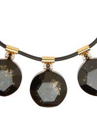 Marni - Black Brown Metallic Resin Circle Necklace - Lyst