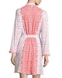 Oscar de la Renta - Red Floral-print Wrap Short Robe - Lyst