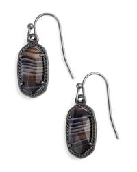 Kendra Scott | Metallic 'lee' Small Drop Earrings - Gunmetal Black Banded Agate | Lyst