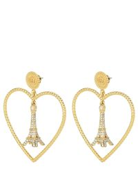 Juicy Couture | Metallic Eiffel Tower Heart Hoop Earrings | Lyst