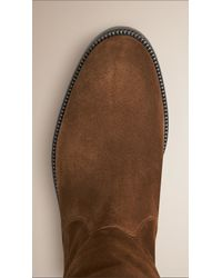 Burberry - Brown House Check and Suede Riding Boots - Lyst