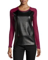 Neiman Marcus - Red Contrast Faux-Leather Paneled Slub Sweater - Lyst