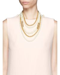 Kenneth Jay Lane | Metallic Pearl And Crystal Multi Tier Necklace | Lyst