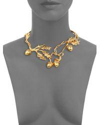 Alexander McQueen Metallic Leaves Acorn Choker Necklace for men