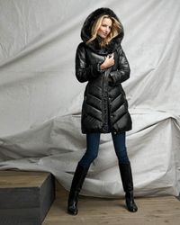 T Tahari Black Austin Puffer Coat With Faux Fur-trimmed Hood