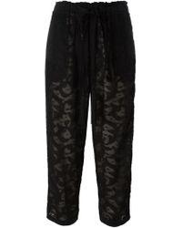 Oscar de la Renta Black Lace Cropped Trousers