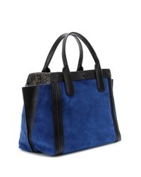 Chloé Blue Alison Small East/West Suede Tote
