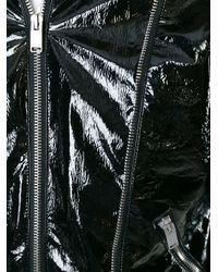 Saint Laurent - Black Patent-Effect Biker Jacket - Lyst