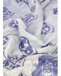 Alexander McQueen - Blue Dégradé Skull Modal Blend Scarf - Lyst