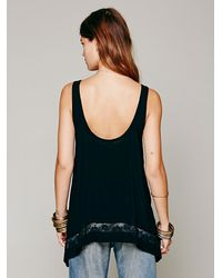 Free People Black Intimately Womens Outlined High Low Cami