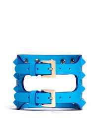 Valentino | Blue Rockstud Cutout Leather Bracelet | Lyst